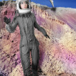 Astronaut fashion stand womspace suit helmet — Stock Photo #5495327
