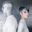 Alien silver future couple silver man fashion woman — Stock Photo