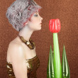 Surreal fashion futuristic woman tulip flower — Stock Photo