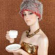 Fashion futuristic silver gold coffee cup on bronze — 图库照片