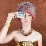 Futuristic golden bronze woman technology chipset — Stock Photo