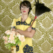 Housewife nerd retro woman home chores wallpaper — Stock Photo #5495394
