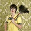 Housewife nerd retro woman home chores wallpaper — Стоковая фотография