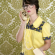 Nerd housewife retro woman talking vintage phone — Stock Photo #5495399