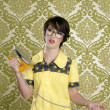 Stok fotoğraf: Housewife nerd retro unhappy iron chores