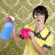 Housewife nerd retro cleaning chores equipment — Stock Photo #5495408