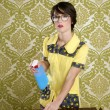 Housewife nerd retro cleaning chores equipment — Stock Photo #5495412