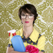 Housewife nerd retro cleaning chores equipment — Stock Photo #5495416