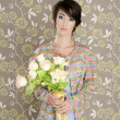 Retro woman portrait 60s fashion vintage - Stock Photo