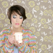 Coffee cup drinking retro fashion 60s woman — Stock Photo #5495433