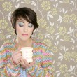 Coffee cup drinking retro fashion 60s woman — Stock Photo