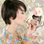 Retro woman mirror lipstick makeup tacky — Stock Photo #5495442