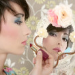 Retro woman mirror lipstick makeup tacky — Stock Photo