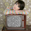 Retro pensive woman on vintage wooden tv 60s — Stock Photo