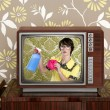 Ad tvl retro nerd housewife cleaning chores - Foto Stock