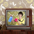 Ad tvl retro nerd housewife cleaning chores — 图库照片