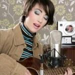 Retro woman musician guitar player vintage — Stock Photo