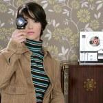 Multimedia cinema 8mm kvinna musik band öppna ree — Stockfoto