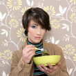Breakfast cereal bowl soup dish retro woman vintage — Stock Photo