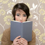Book reading shy woman retro 60s vintage — Stock Photo