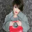 Handbag red retro woman vintage fashion — Stock Photo