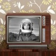 Space odyssey mars astronaut on retro 60s tv - Stock Photo