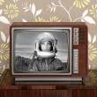 Space odyssey mars astronaut on retro 60s tv — Stock Photo