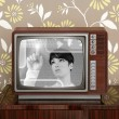 Royalty-Free Stock Photo: Futuristic retro contrast vintage tv future woman