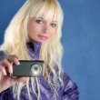 Fashion blonde girl photo camera mobile phone blue — Stock Photo