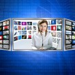 donna di belle notizie tv rossa sul display 3d — Foto Stock