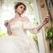 Victorian beautiful woman, white dress at home — Foto Stock