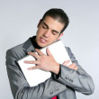 Businessman young embracing computer, hug laptop — Stock Photo