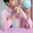 Businessman retro and global world map — Stock Photo