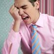 Businessman worried headache stressed and sad — Stock Photo