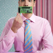Businessman with electronic circuit in face — Stock Photo #5496848