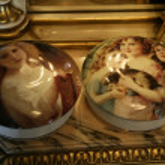 Porcelain jewelry round boxes — Stock Photo
