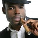 African american man smoking cigar portrait — Stock Photo