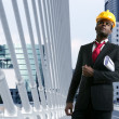African american architect engineer yellow hardhat — Stok fotoğraf