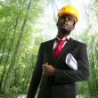 Archictect in an ecological forest project — Stock Photo