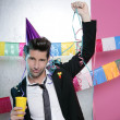 Happy party young man drinking enjoying alone — Stock Photo #5497431