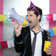 Loudspeaker crazy party man shouting happy - Stock Photo