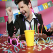 Happy gesture man in holiday party — Stock Photo