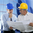 Stock Photo: Engineer architect two expertise team plan hardhat