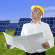 Senior businessman work green grass solar plates — Stock Photo