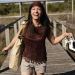 Beautiful woman, tourist running stressed — Stock Photo