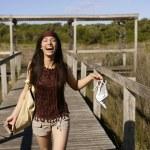 Beautiful woman, tourist running stressed — Stock Photo #5498005