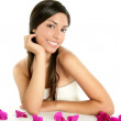 Beautiful indian and bougainvillea flowers — Stock Photo