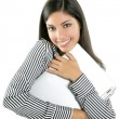 Brunette woman hug laptop computer - Stockfoto
