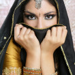 Beautiful brunette asian girl with black veil on face — Foto de Stock