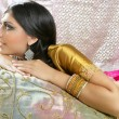 Beautiful indian brunette traditional fashion style -  